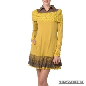 Yellow Dress Long Sleeve POCKETS